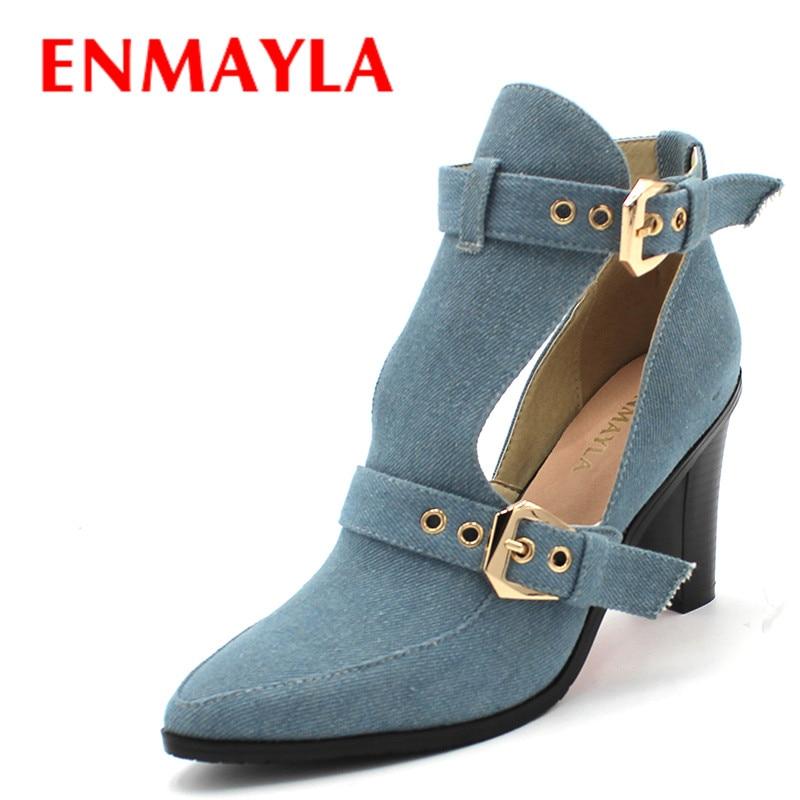 ENMAYLA Botas de mezclilla para mujer Hebilla punta estrecha botines de tacón alto Nuevas botas de verano Moda transpirable Banquete Martin botas