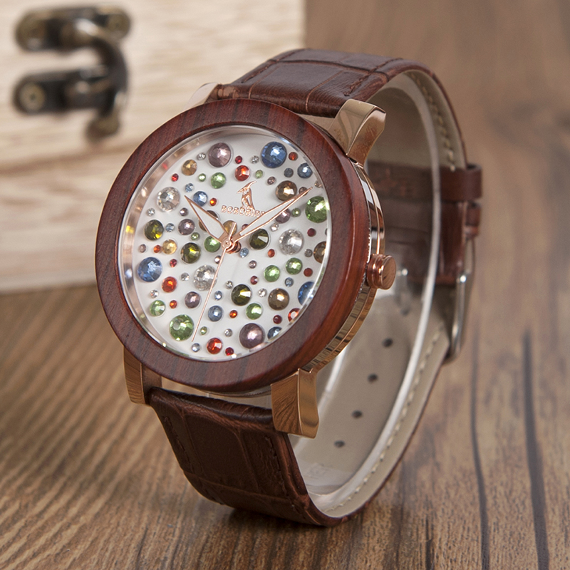 Original BOBO BIRD Blazing Colorful Dial Female Watches Wooden Bezel Watches L-J04 J06 Leather Strap Ladies Watches new in stock ip j04 cy or ip j04 ey