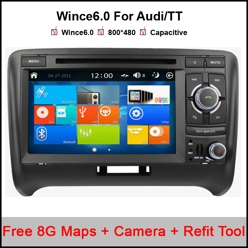 Capacitive Two Din 7 Inch In Dash Car DVD Player For Audi/TT 2006-2012 Canbus Radio GPS Navigation BT WIN8 UI 1080P 3G Ipod Map