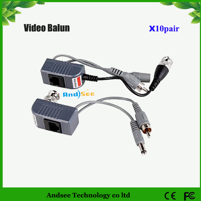 10pairs/20pcs  Cable BNC CAT5 Coax Camera CCTV Video Balun with power supply Transceiver