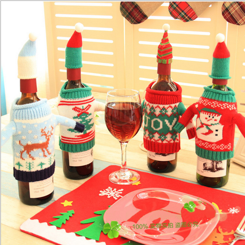 New Christmas supplies knitted Christmas Elk wine bottle sets of creative sweaters wine sets holiday decorations