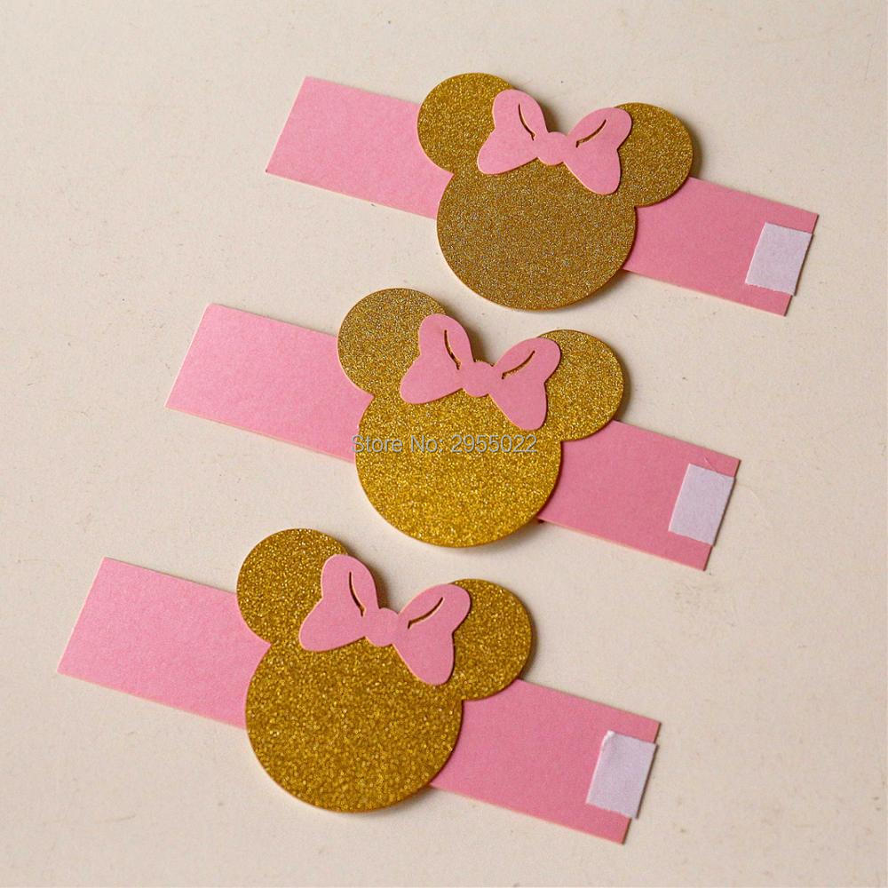 Mouse Napkin Rings, Set of 24 pink and gold napkin rings, girls ...