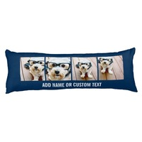 Create Your Own Instagram Collage Navy 4 Pictures Body Pillow Cases Decorative Cushion Covers Custom Pillow