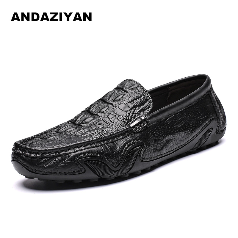 The first layer of leather crocodile pattern peas shoes leather business casual shoes mens handmade soft bottom The first layer of leather crocodile pattern peas shoes leather business casual shoes mens handmade soft bottom