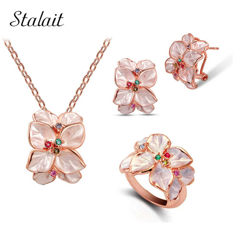 Colorful Drop Minyak Bunga Anting-Anting Kalung Cincin Perhiasan Set Fashion Bridal Warna Emas Austria Kristal Daun Liontin
