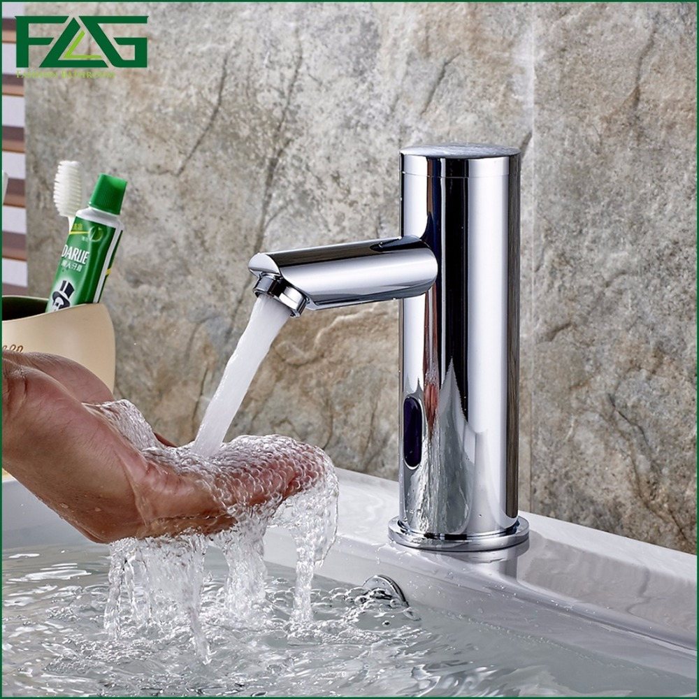 FLG Basin Faucet Bathroom Tap Chrome Faucet Automatic Sense Faucet Brass Cold Hot Waterfall Sink Faucet For Hotel&Hospital 8813 automatic sensor polish chrome waterfall bathroom basin faucet cold tap plate