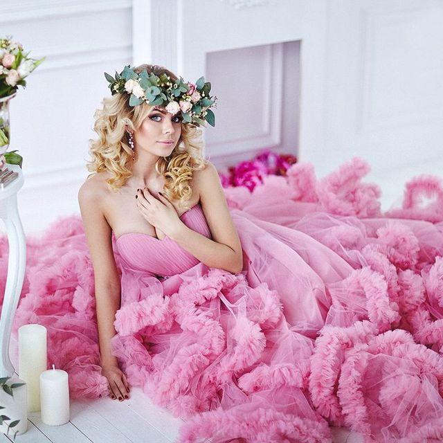 Luxury Vestido de noiva Puffy Skirt Red / Pink Tulle Ball Gown ...