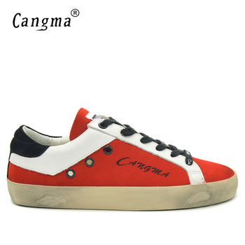 CANGMA Original Men Sneakers Suede Red Flat Shoes Fashion Breathable Genuine Leather Casual Shoes Brands Vintage Male Shoe Man