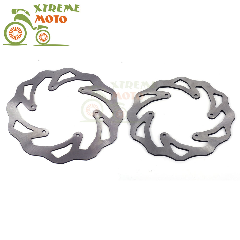 Front Rear Wavy Brake Disc Rotor Set For Husqvarna TC125 TE125 250 300 FE250 350 450 501 FC250 350 450 Motocross Enduro Off Road disc brake of high quality for off road motorcycle racing motocross one set include front and rear two pieces disc brake