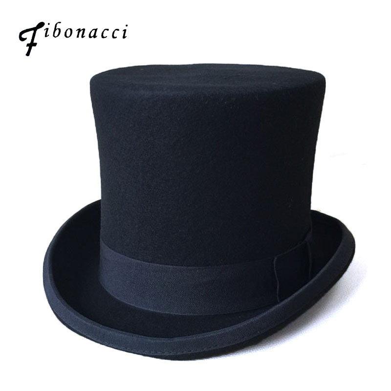 Fibonacci 17cm Black President Hat Vintage Magician Victorian Top Hat Men Wool Felt Fedoras Mad Hatter President Bowler Hat