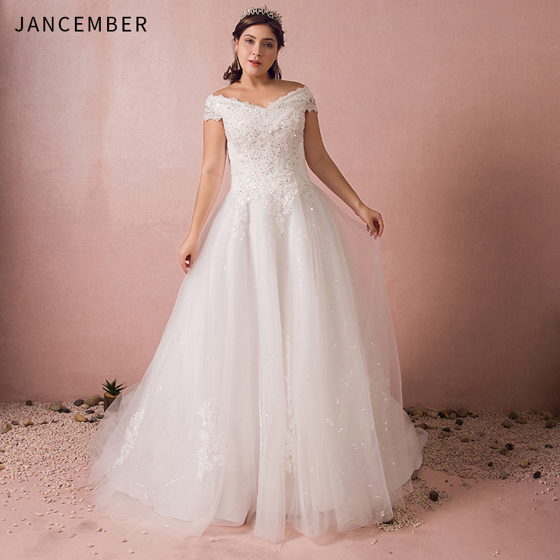 Us 20399 49 Offjancember Plus Size Wedding Dresses Short Sleeve Scalloped Neck Appliques Sequins Lace Up Back Chapel Train Vestido De Noiva New In