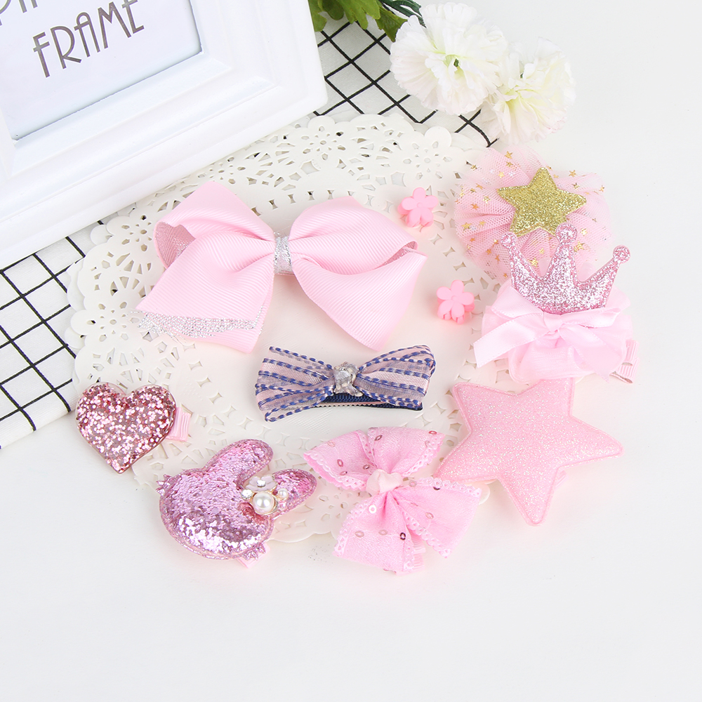 10Pcs/Set Fashion Cute Girls Elastic Bowknot Hair Clips Bow Flower Barrettes Party Hairpins Kids Headwear Hair Accessories 1pc luxury women girls crystal hair clips opal leaf resin flower hairpins headwear jewelry elegant barrettes hair accessories