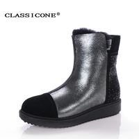 CLASSICONE Shoes Woman Winter Genuine Leather Wool Fashion Zip Comfortable Boots Free Shipping