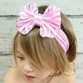 MIOIM Girl Harajuku Big Bowknot Ribbon Elastic hair accessories cotton Headband Striped Head Band Princess crown children W2