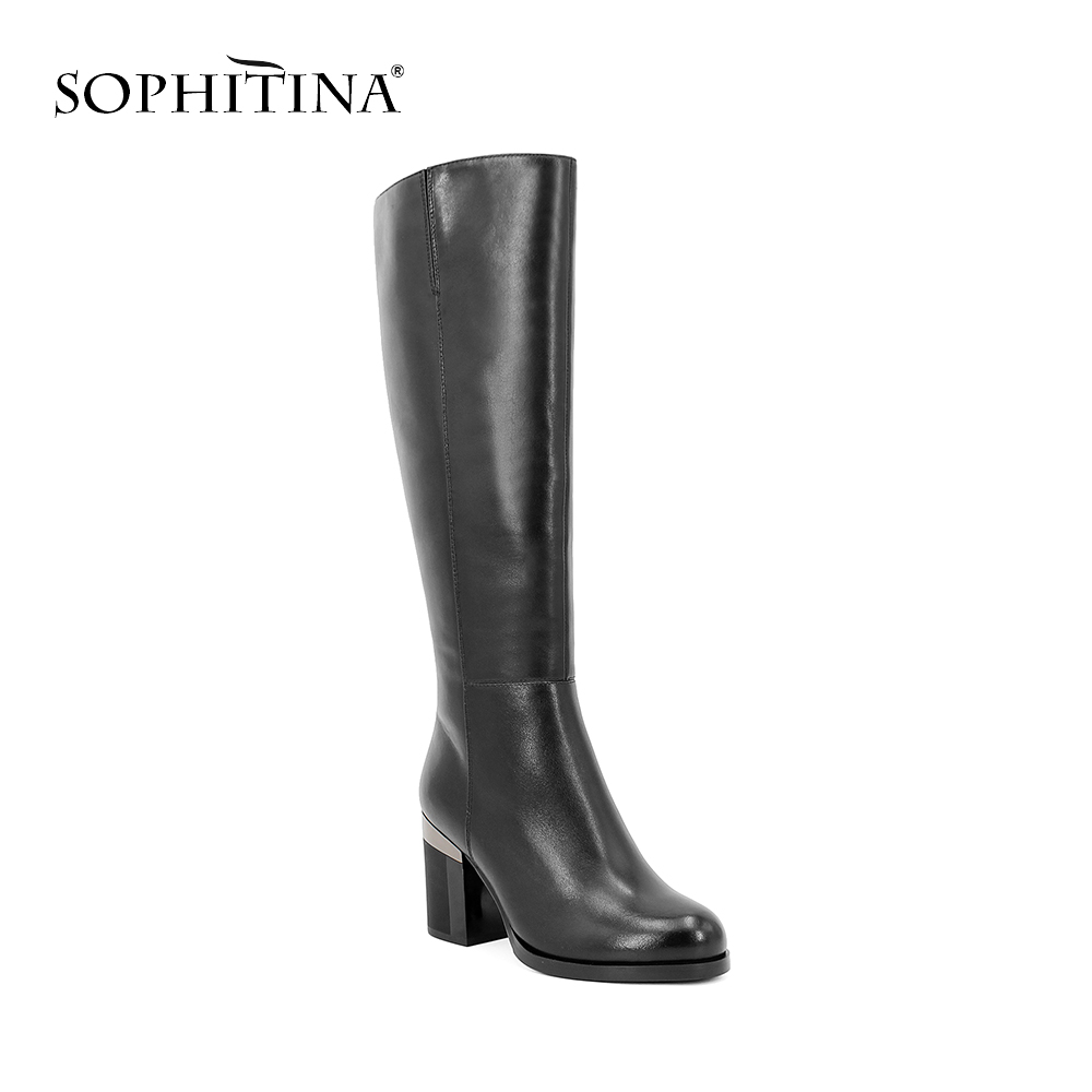 SOPHITINA Handmade Wool Knee high Boot Black Genuine Leather Woman Shoe Solid Round Toe Sexy High