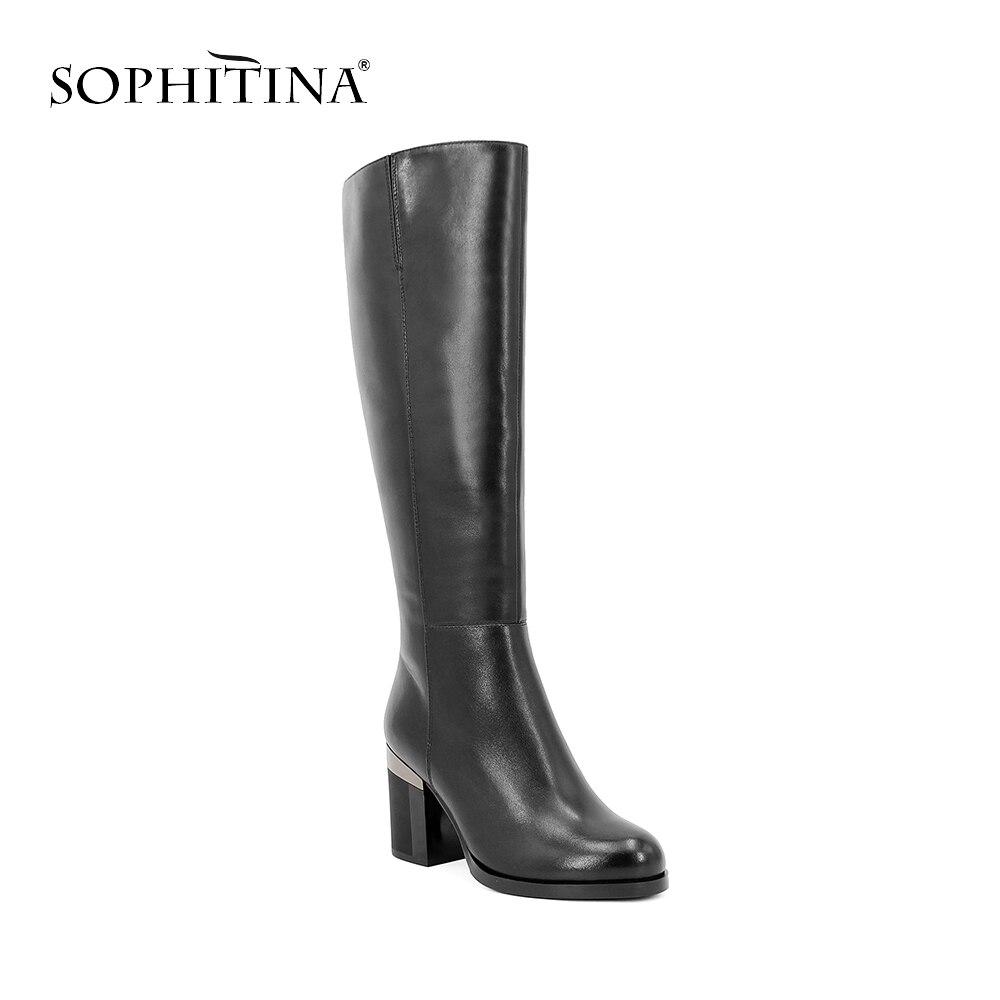 SOPHITINA fait main laine genou-haute botte noir en cuir véritable femme chaussure solide bout rond Sexy talon haut bureau chaussures élégantes B35