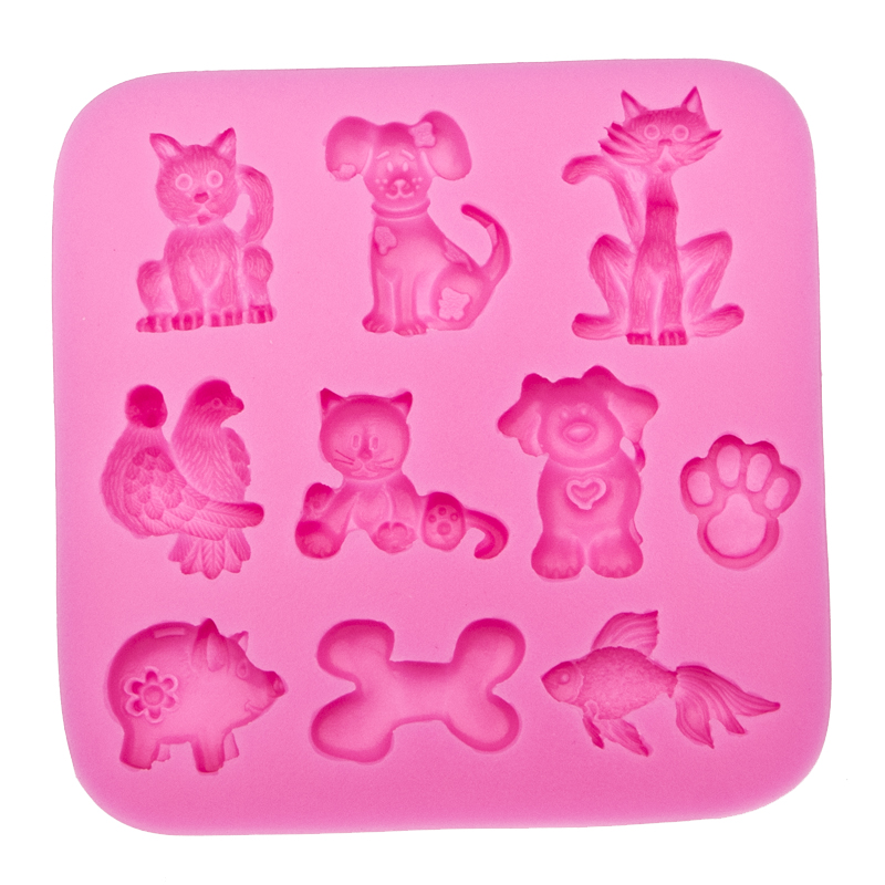 3D Reverse sugar molding dog shape silicone mould for polymer clay molds confectionery accessories cake decoration tool FT-0031