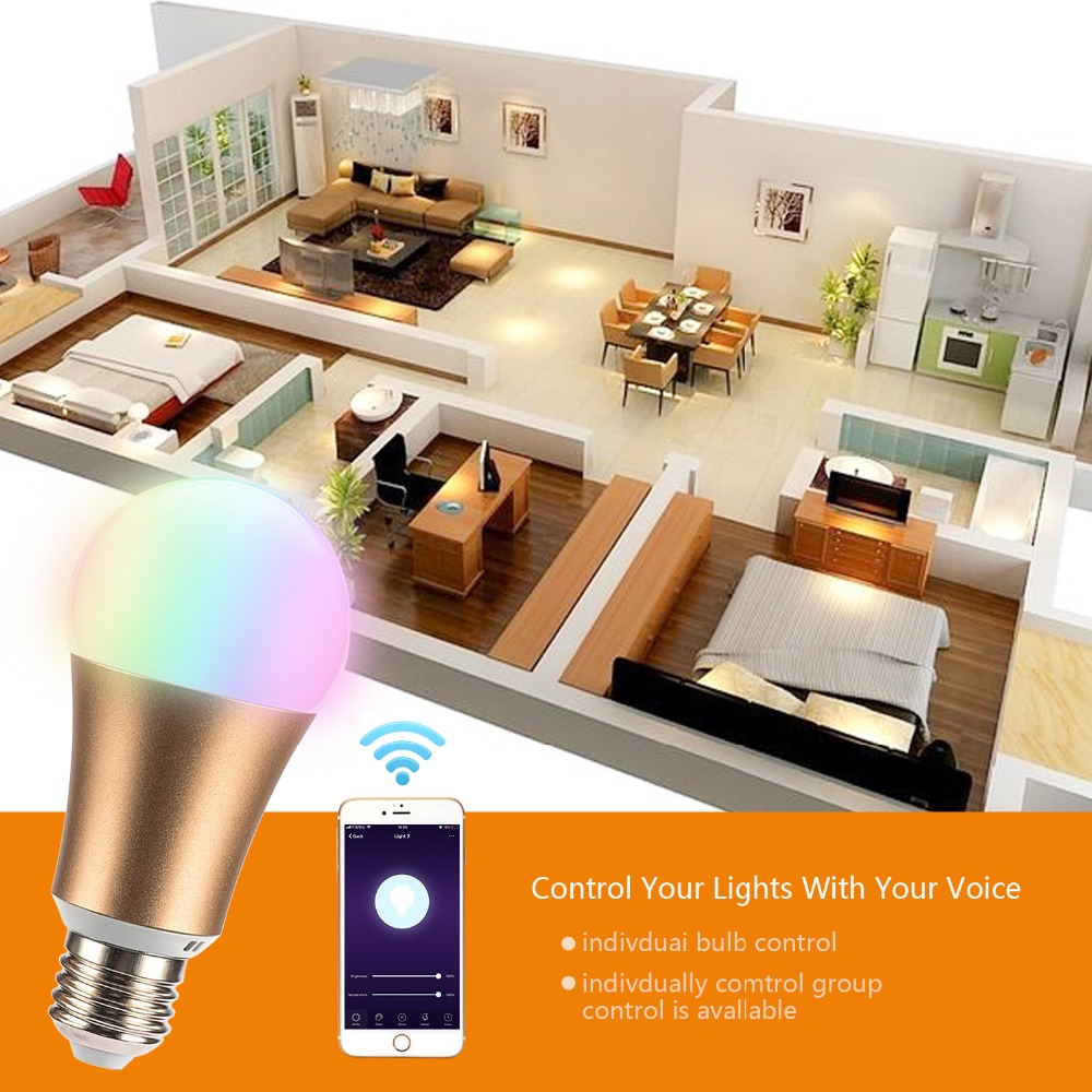 Купить с кэшбэком 2019 New Metal RGB 7W WIFI LED Smart Bulb Ball Lamp E27 Dimmable Color LED Light Bulb ,16 Million Colours,APP Remote Control