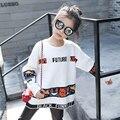 Patrón de la letra del Suéter Blanco para Niña Chica de Moda Suéter Estilo Coreano Ocasional Del Suéter Tops para la Muchacha de la Ropa de Los Niños
