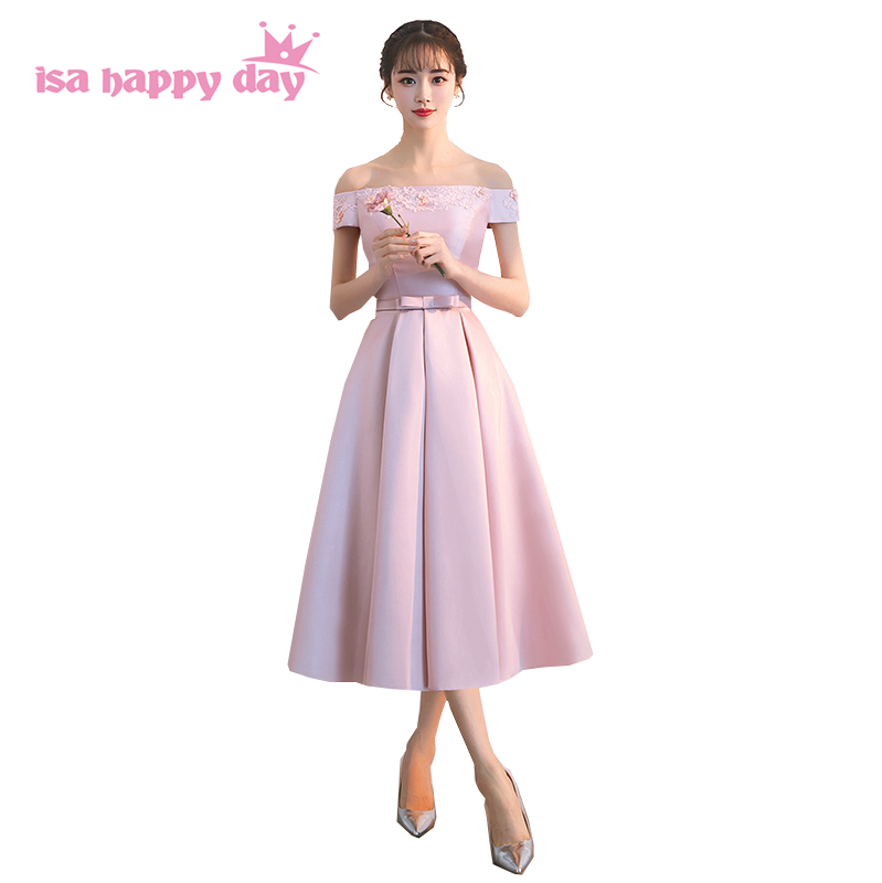 Cheap Wedding Dresses Madison Wi: Pink Color Lace Tea Length Satin Spring New Arrival Off