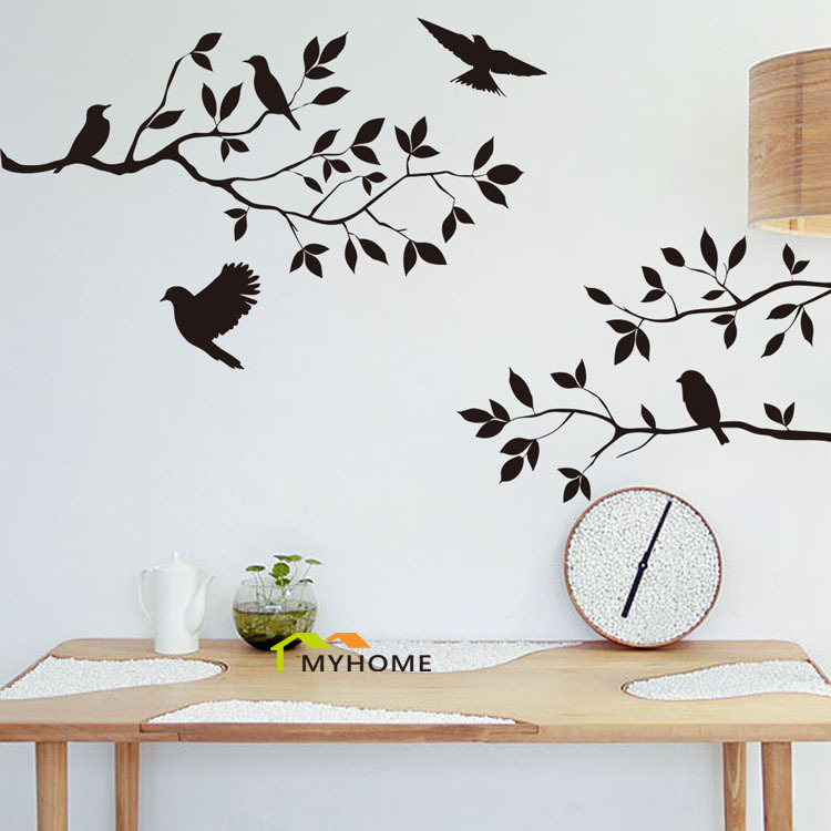 Cute Bird Sitting On The Branch Wall Art Decals Removed Vinyl Wall - Vinyl wall decals removable   how to remove