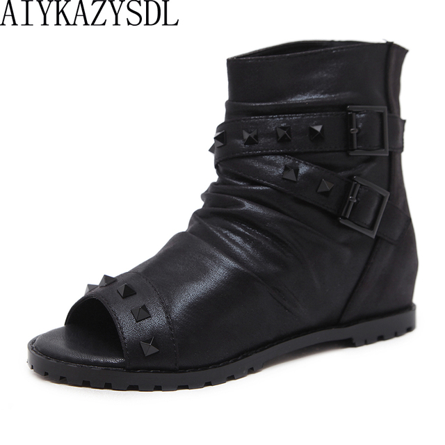 1051c0623f989 AIYKAZYSDL Rome Gothic Peep Toe Ankle Boots Gladiator Sandals Women Rivets  Studded Short Bootie Wedge Heels Cross Strap Shoes