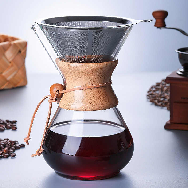 1PC 1000ml Coffee Pots Heat Resistant Glass Coffee Pot Brewer 3Cups Counted Chemex Hot Brewer Coffee Pot Barista Percolator