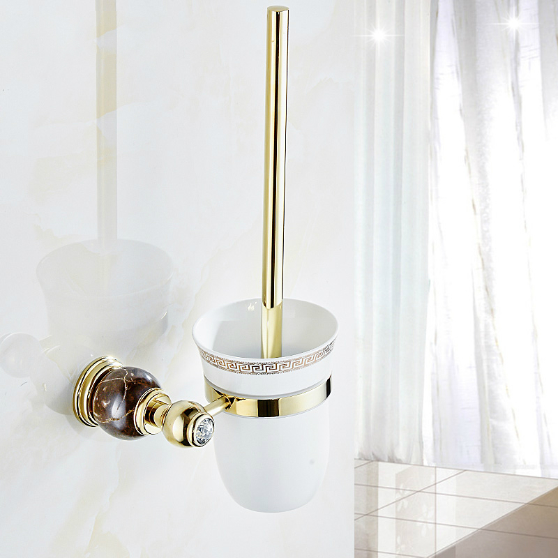 european gold copper polished toilet brush holder vintage plating jade base toilet brush set wall mount