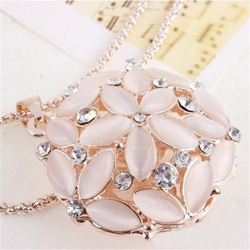 LNRRABC Hollow 3D Opal Crystal Flower Long Pendant Necklace s