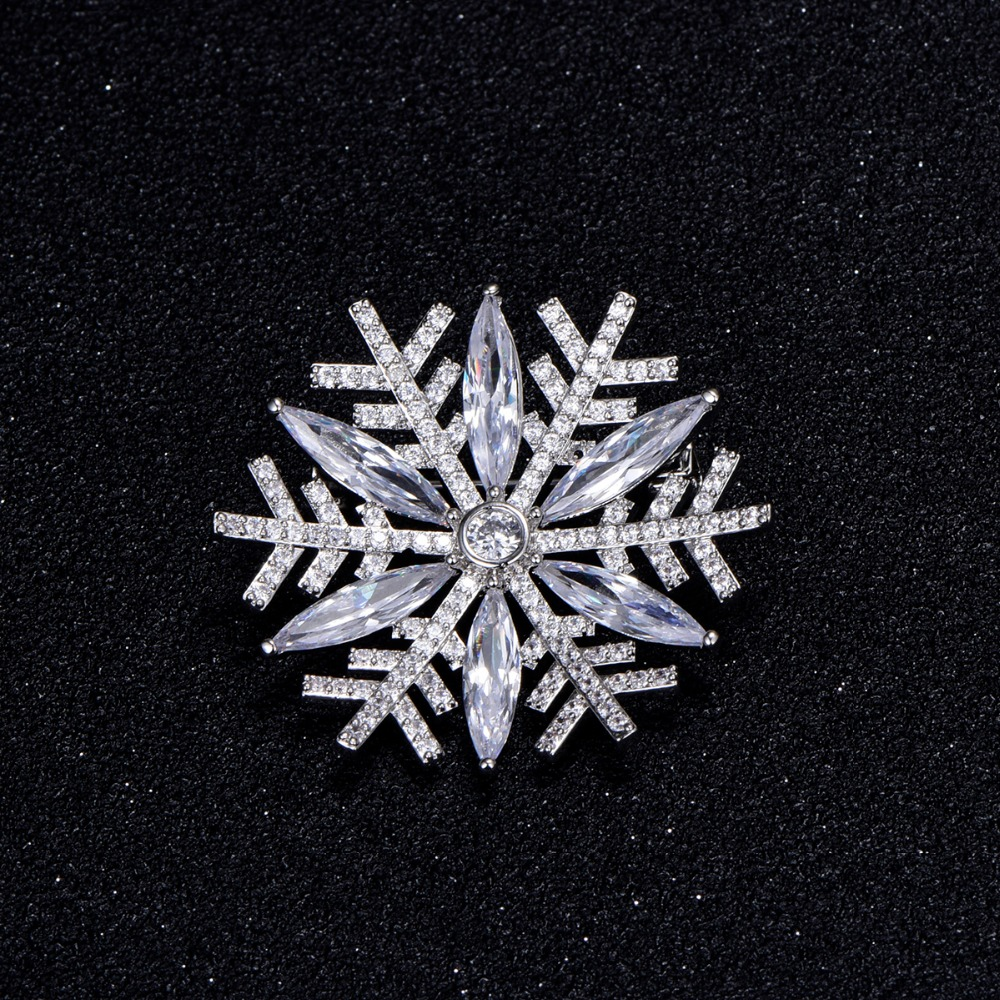 2018 Rose Gold Elegant Snowflake Flower Brooch Jewelry Fancy Cubic Zirconia Brooch  Pins For Women Girlfriend Valentineu0027s Gift In Brooches From Jewelry ...