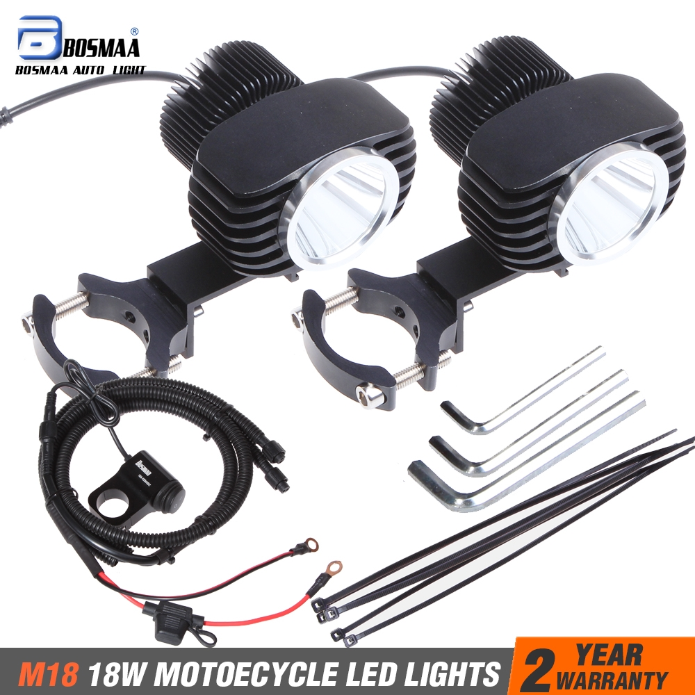 Bosmaa 2x 18W 2800Lm Motorcycles LED External Headlight Spot Lights Hunting Driving Lamp with Control Line Group SwitchBosmaa 2x 18W 2800Lm Motorcycles LED External Headlight Spot Lights Hunting Driving Lamp with Control Line Group Switch