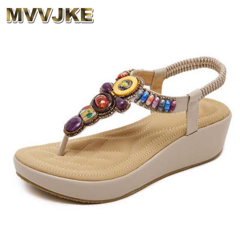 Extérieur Mvvjke Commerce Chaussures D'été Taille Appartements Style Bohême Plate Sandales Femmes Perlé National noir forme Apricot Pnq7Prwxv4