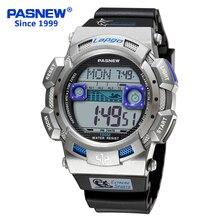 Pasnew новые мужские часы светодиодный 100 м Дайвинг платье модные цифровые многофункциональные водонепроницаемые спортивные наручные часы PLG-1002D
