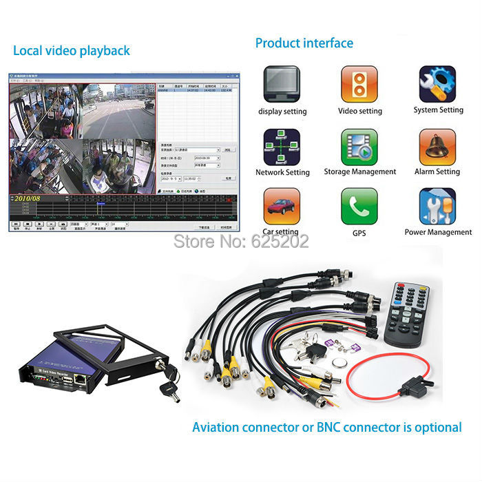 Mini AVI format excellent quality project specific 4CH Mobile DVR SDVR004