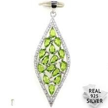 Guaranteed Real 925 Solid Sterling Silver 4.2g Classic Green Peridot Womans Engagement Pendant 50x17mm