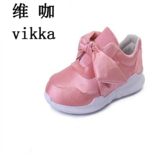 2017 fashion Woman Spring Silk Bow Creepers Flat Shoes Women Fashion Slip On Flats Casual Women