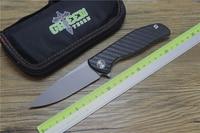 Green thorn hati 95 folding knife double row bearing D2 blade titanium + CF 3D handle outdoor camping multipurpose hunting EDC