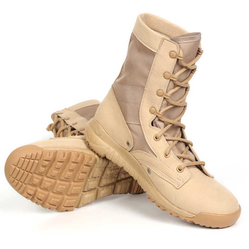 cb5b6f97f7d3 ... 2018 Для мужчин тактические армейские ботинки зимние кожаные военные  ботильоны летние пустыня обувь Для мужчин обувь ...