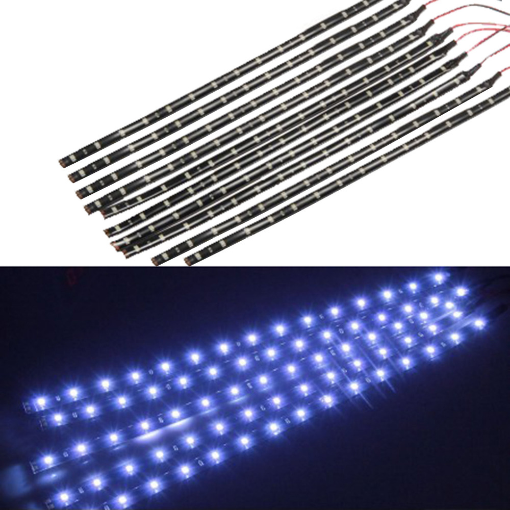10pcs Waterproof 30cm SMD 3528 15 LED Decorative Flexible Strip Car Motorcycle Light Daytime Running Light Styling 4 color flexible 3w 132lm 6 smd 5050 led white car decorative daytime running light 12v 2 pcs