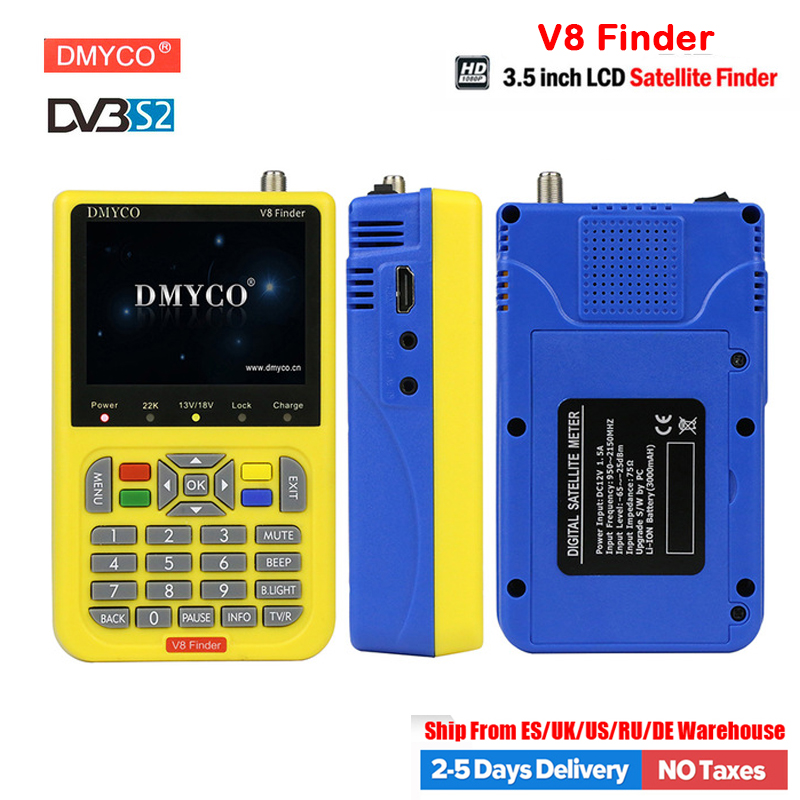 DMYCO V8 Finder Satellite Finder High Definition DVB-S2 lnb Tuner MPEG-2/MPEG4 Spain TV HD FTA digital Satellite Meter Satfinder