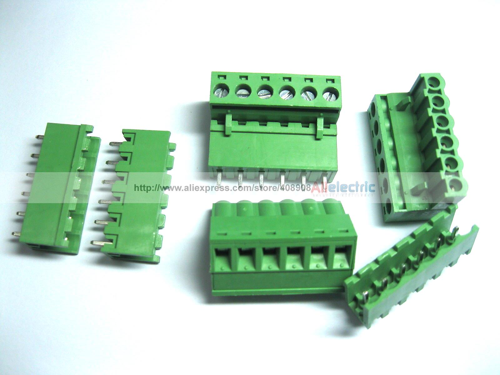 100 Pcs Green 6 Pin 5.08mm Screw Terminal Block Connector Pluggable Type 30 pcs 5 08mm angle 16 pin screw terminal block connector pluggable type green