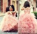 Lovely Pink Children Flower Girl Dresses for Weddings 2015 Lace Ball Gown Girls Pageant Dress Prom Dress Child Vestidos Infantis