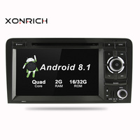2Din 71024x600 QuadCore 2GB/16GB/32GB Android 8.1 PC Car DVD GPS For Audi A3 S3 2003 2013 With Stereo Radio WiFi 4G OBD DVR CAM