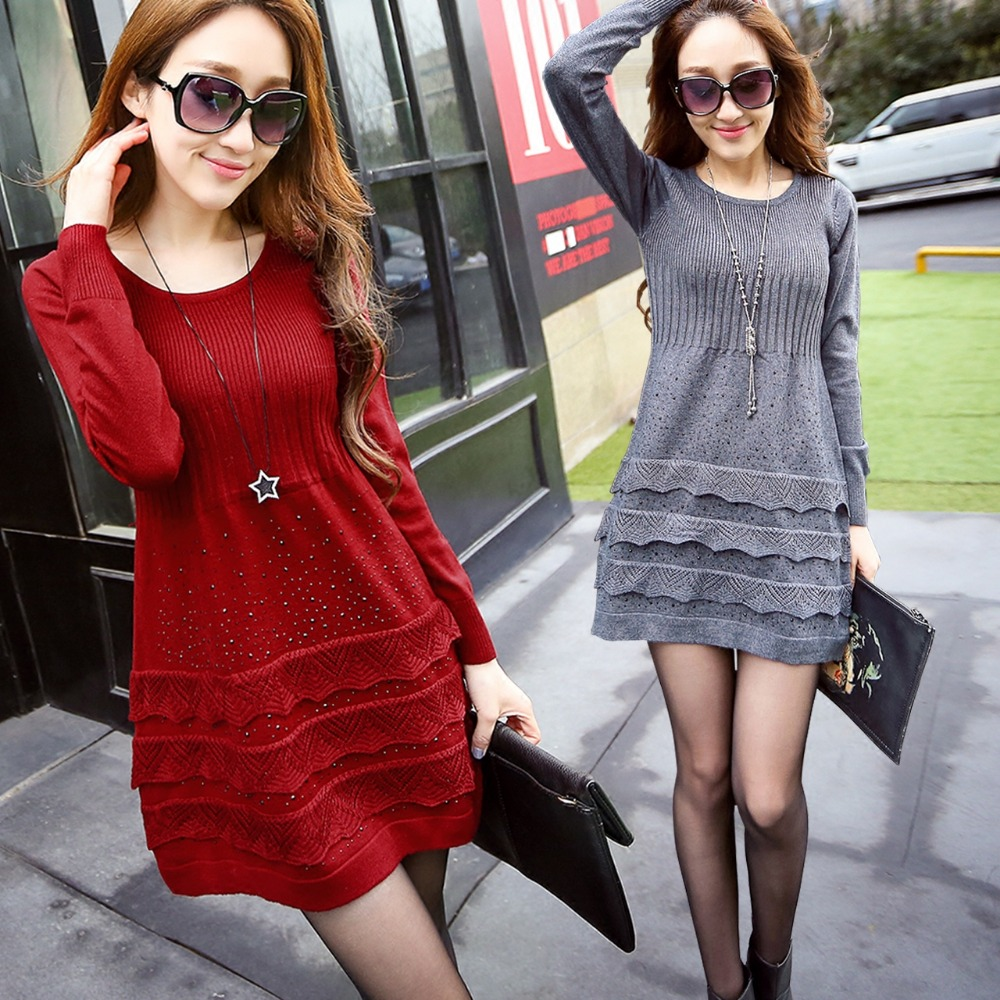 The new autumn and winter sections hedging long-sleeved sweater and long sections of high-quality drilling hot bottoming dress ...