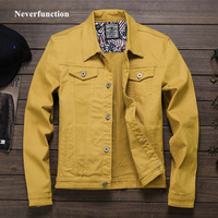 Spring Autumn 2019 Red white Black Yellow army green Jeans Jacket Men Slim Streetwear Denim Jacket Hip Hop Bomber Jacket Homme