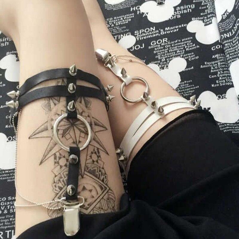 Sexy Women Garters Double Leg Belts Fashion 2016 Rivet Harmless Handmade Leather Garters