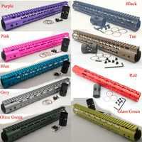 TriRock 15 ''szczupła Keymod jelca Rail Free Float System AR-15. 223/5. 56 czarny/czerwony/Tan/fioletowy/niebieski/różowy/oliwkowy zielony/szkło zielony