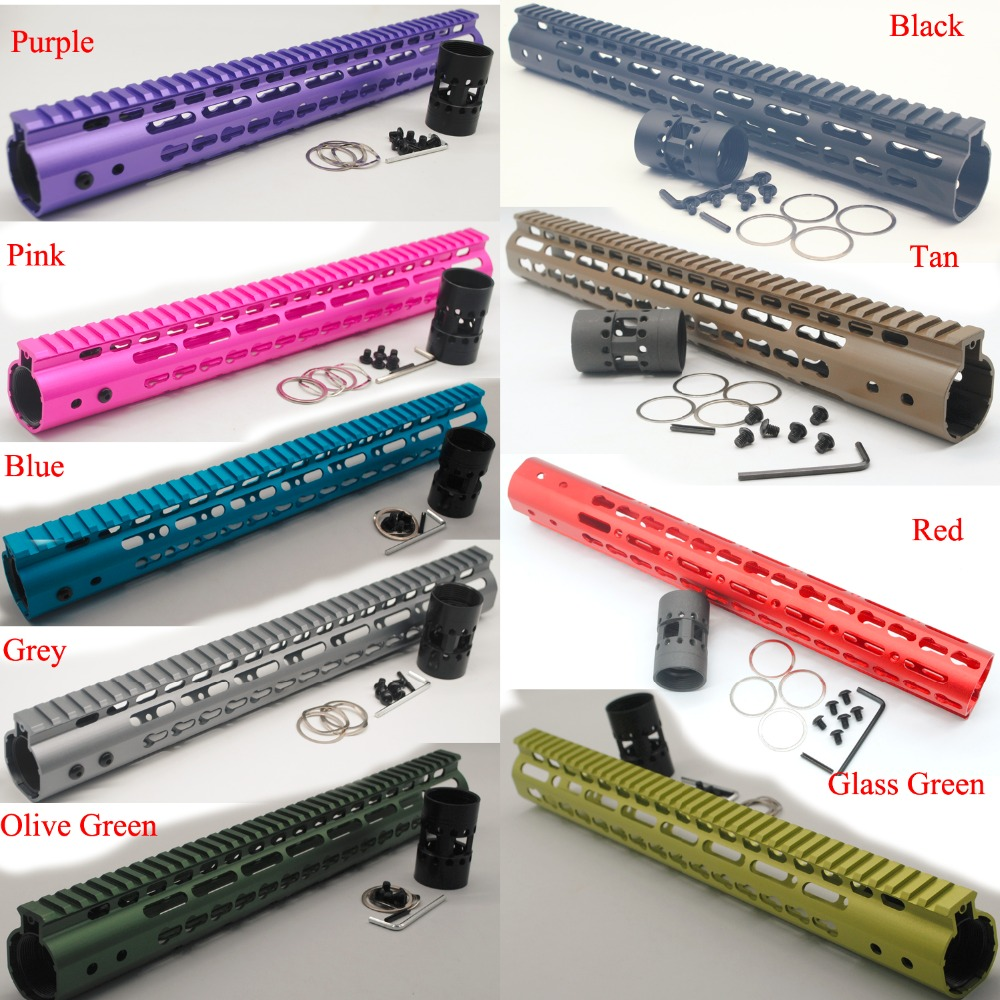 TriRock 15 ''тонкий Keymod цевье Rail свободном Системы AR-15. 223/5. 56 черный/красный/коричневый/фиолетовый/синий/розовый/оливковый зеленый/Стекло зеленый