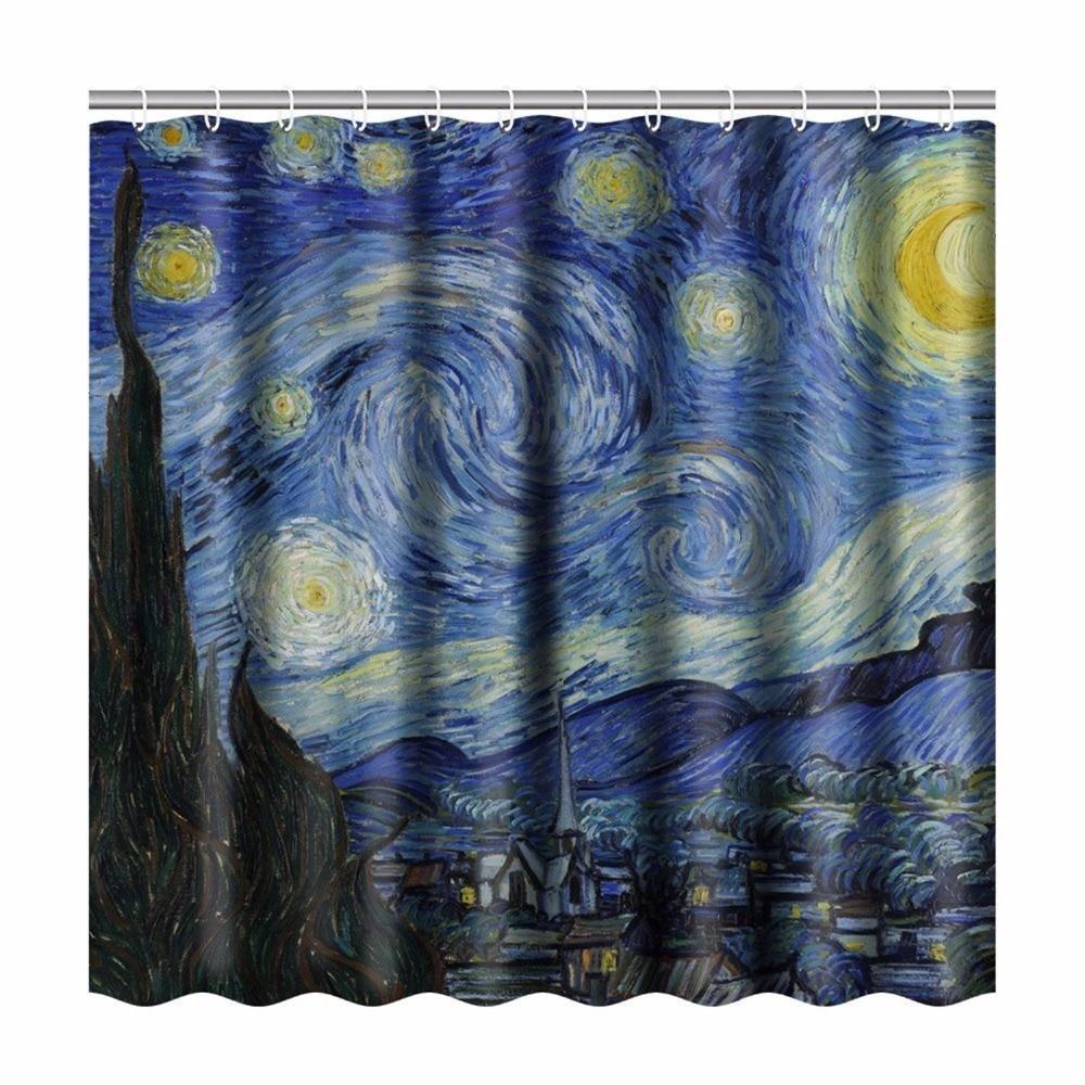 "71X71/"" Fabric Shower Curtain Set Bathroom Accessories Window Scenery Blue Ocean"