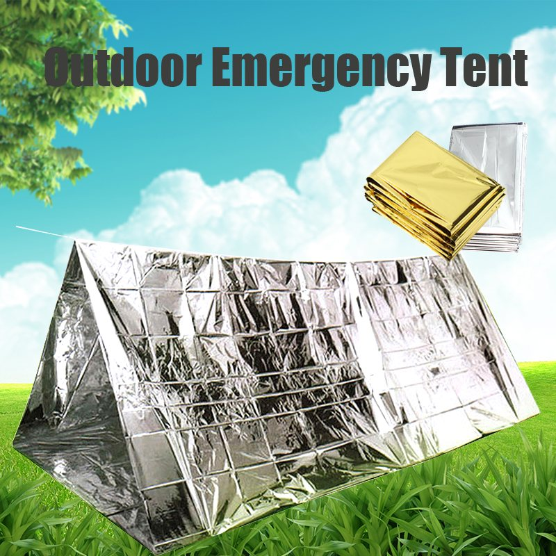 210cm X140 CM Outdoor Camping Equipment Emergency Blankets Cold-proof Waterproof Blanket Tent Survival Rescue Camping Shelter